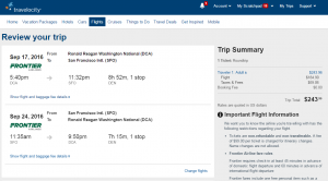 D.C. to SF: Travelocity Booking Page