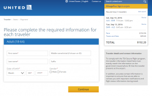 Austin to NYC: United Booking Page