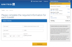 Baltimore to LA: United Booking Page