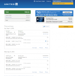 Dallas to Moscow: United Booking Page