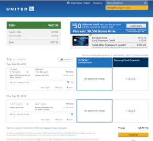 NYC to Athens: United Booking Page
