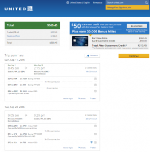 Seattle to Moscow: United Booking Page