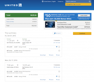 SF to Malaysia: United Booking Page