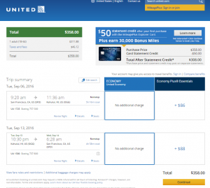 SF to Maui: United Booking Page