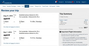 Atlanta-Fort Lauderdale: Travelocity Booking Page