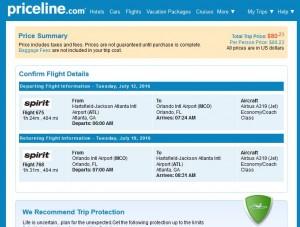 Atlanta-Orlando: Priceline Booking Page