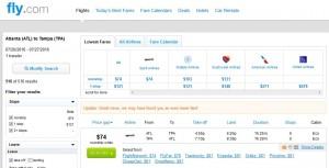 Atlanta-Tampa: Fly.com Search Results