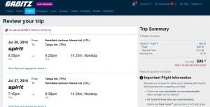 Atlanta-Tampa: Orbitz Booking Page