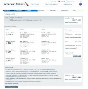 Boston to Cancun: AA Booking Page