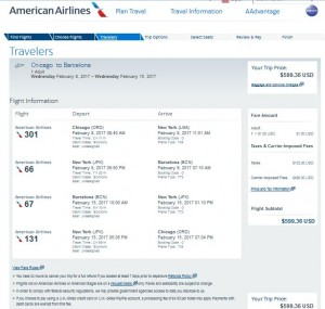 CHI-BCN: American Airlines Booking Page