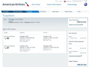 CHI-LON: American Airlines Booking Page