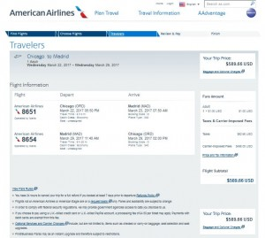 CHI-MAD: American Airlines Booking Page