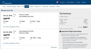 CHI-SJO: Travelocity Booking Page
