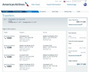 CLE-CZM: American Airlines Booking Page