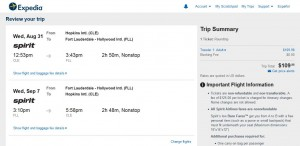 CLE-FLL: Priceline Booking Page