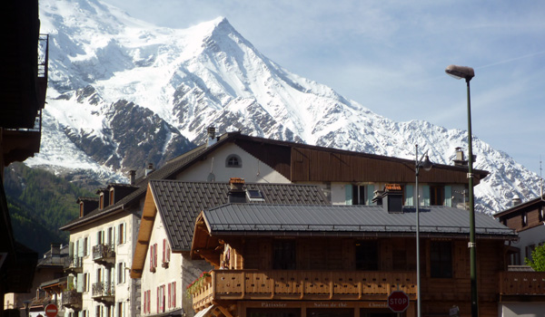 Chamonix Town Centre with the French Alps in the Background (Godfrey Hall)