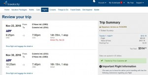 Chicago-Geneva: Travelocity Booking Page