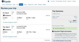 Chicago-Los Cabos: Expedia Booking Page