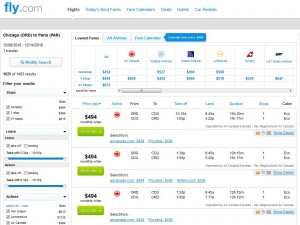 Chicago-Paris: Fly.com Search Results ($494)