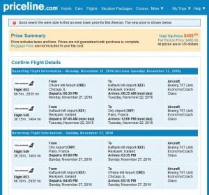 Chicago-Paris: Priceline Booking Page