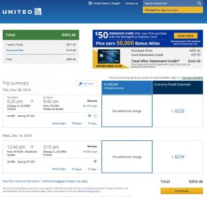 Chicago-Paris: United Airlines Booking Page ($494)