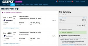 Chicago-Puerto Vallarta: Orbitz Booking Page