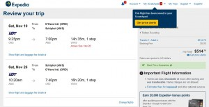 Chicago-Amsterdam: Expedia Booking Page