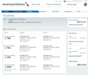 Cleveland-Frankfurt: American Airlines Booking Page