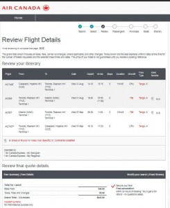 Cleveland-Madrid: Air Canada Booking Page