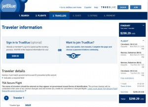 Cleveland-Nassau: JetBlue Booking Page