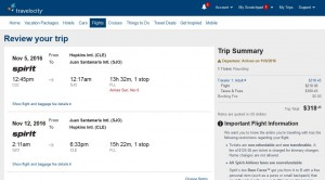 Cleveland-San Jose: Travelocity Booking Page