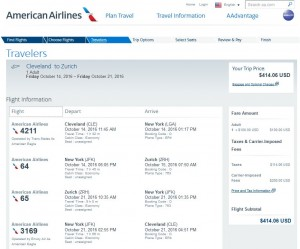 Cleveland-Zurich: American Airlines Booking Page