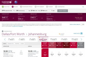 DFW-JNB: Qatar Airways Booking Page