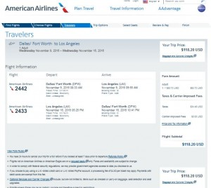 DFW-LAX: American Airlines Booking Page