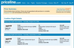 DFW-OAK: Priceline Booking Page