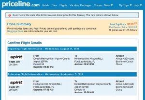 DTT-FLL: Priceline Booking Page