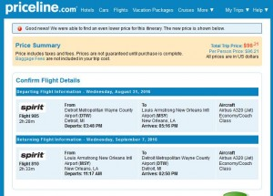 DTW-MSY: Priceline Booking Page