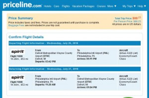 DTW-PHL: Priceline Booking Page