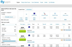 DTW-SLC: Fly.com Search Results