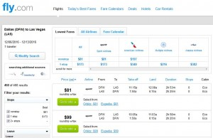 Dallas-Las Vegas: Fly.com Search Results