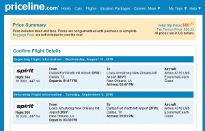 Dallas-New Orleans: Priceline Booking Page