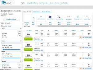 Dallas-New York City: Fly.com Search Results 2