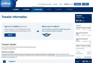 Dallas-New York City: JetBlue Booking Page