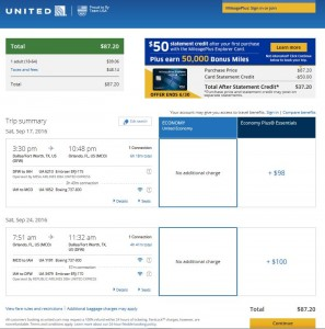 Dallas-Orlando: United Airlines Booking Page