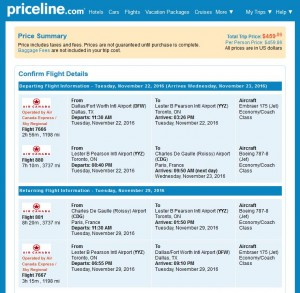 DFW-CDG: Priceline Booking Page