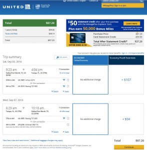 Dallas-Tampa: United Airlines Booking Page