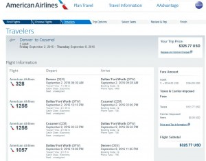 Denver-Cozumel: American Airlines Booking Page