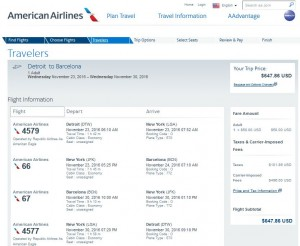 Detroit-Barcelona: American Airlines Booking Page