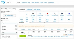 Detroit-Cancun: Fly.com Search Results ($242)