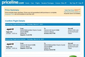 Detroit-Cancun: Priceline Booking Page ($242)